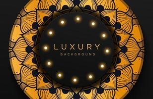 fundo elegante luxuoso com ornamento de ouro mandala isolado no preto. fundo de neomorfismo realista abstrato. modelo elegante vetor