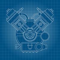Fundo de desenho de linha de motor de carro vetor