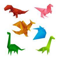 Vetor de dinossauros de origami