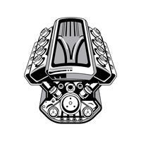 desenho do motor do hot rod v8 vetor