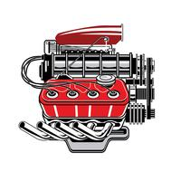 Vista lateral detalhada do motor de turbo do desenho vetor