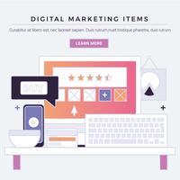 Itens de marketing digital de vetor