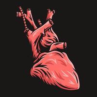 coração com fundo preto ilustração vetorial desenhada à mão vetor
