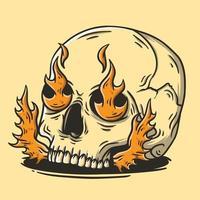 caveira com ilustração vetorial desenhada de mão de fogo vetor