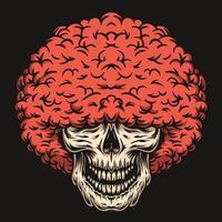 caveira com ilustração vetorial de mão desenhada de penteado afro vermelho vetor