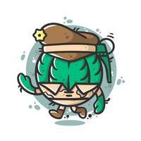 Ilustração em vetor bonito soldado granada com boina personagem de desenho animado
