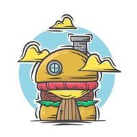 casa de desenho animado de hambúrguer fofo com ilustração vetorial vetor