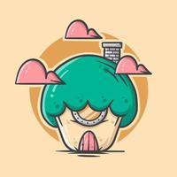 Casa dos desenhos animados de cogumelo verde fofo com ilustração vetorial de cor pastel vetor