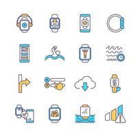conjunto de ícones de cores rgb de relógio inteligente vetor