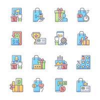 conjunto de ícones de cores rgb do programa de fidelidade vetor