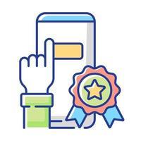ícone de cor rgb de vantagens no aplicativo vetor