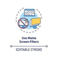 use o ícone do conceito de filtros de tela fosca vetor