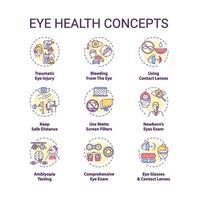 conjunto de ícones de conceito de saúde ocular