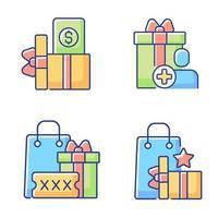 compre descontos e cashback conjunto de ícones de cores rgb