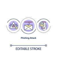 ícone do conceito de ataque de phishing vetor