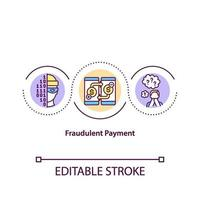 ícone do conceito de pagamentos fraudulentos vetor
