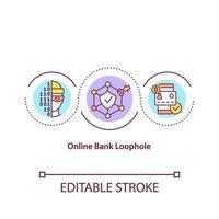 ícone do conceito de brecha de banco online vetor