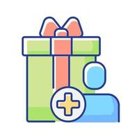 bônus de compra para se registrar no site ou aplicativo ícone de cor rgb vetor