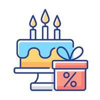ícone de cor rgb de desconto de aniversário vetor