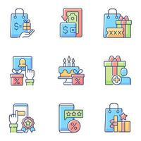 dinheiro de volta e conjunto de ícones de cores rgb de redução de custos