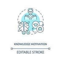 ícone do conceito de motivação de conhecimento vetor
