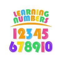 aprendizagem de números definidos para crianças ilustração de design de modelo vetorial vetor