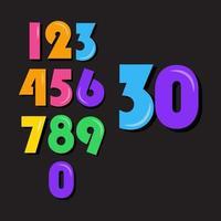 conjunto de número de crianças ilustração de design de modelo vetorial vetor