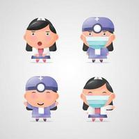 conjunto de desenhos de personagens fofos de enfermeira vetor