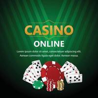 jogo de jogo de casino online com cartas de jogar e fichas de casino vetor