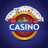 jogo de azar de cassino com fundo de luxo e cartas vetor