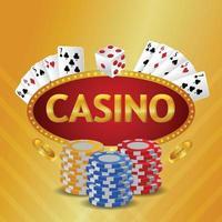 Fundo de convite VIP de luxo de cassino com cartas de jogar e ficha de cassino vetor