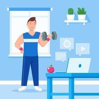 conceito de personal trainer online vetor