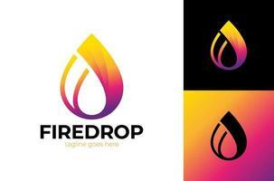 vetor negócios emblema gota ícone de chama de água. conceito de logotipo de energia de combustível líquido de chama e gota