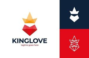 logotipo do amor de rei. poli coração amor e logotipo de vetor coroa rei. modelo de ilustração vetorial de designs de logotipos de ideias criativas