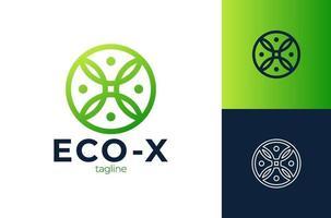 letra x eco deixa elementos de modelo de design de ícone de logotipo. x carta com folhas verdes. elementos do modelo de desenho vetorial para seu aplicativo de ecologia ou identidade corporativa. vetor