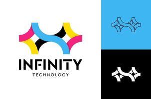 modelo de vetor de logotipo infinito tecnologia, conceito de design de logotipo infinito criativo.