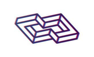 modelo de ícone de infinito de cubo de caixa abstrata. blockchain e tecnologia vetor