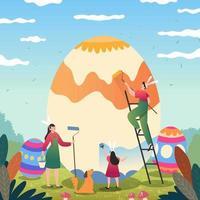 pessoas felizes pintando ovos de páscoa vetor