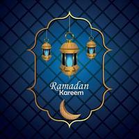 fundo criativo do ramadan kareem com lanterna islâmica vetor