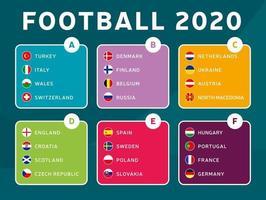 grupos de estágio final do torneio de futebol europeu 2020 vector estoque ilustração. Torneio de futebol europeu de 2020 com plano de fundo. vetor bandeiras do país