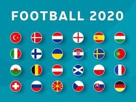 Conjunto de bandeiras do torneio de futebol europeu 2020. vetor bandeira do país definida para o campeonato de futebol.