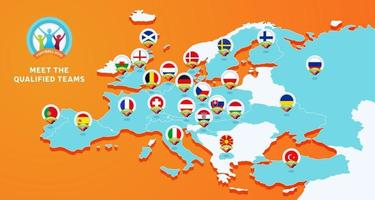 mapa isométrico europa bandeira nacional futebol 2020 vetor