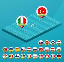 futebol itália vs turquia vetor
