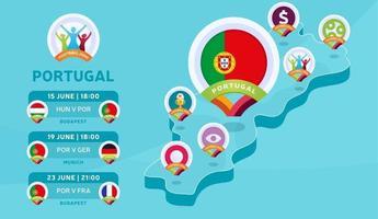 mapa isométrico de portugal futebol 2020 vetor