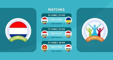 jogo de futebol da holanda 2020 vetor