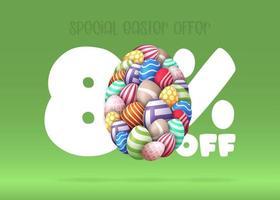 80 por cento de desconto na venda de banner de páscoa vetor