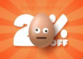 banner de venda de Páscoa feliz. venda de Páscoa 20 fora do modelo de banner com ovos de Páscoa de sorriso emoji marrom. ilustração vetorial vetor