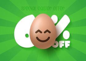 banner de venda de Páscoa feliz. venda de páscoa 60 fora do modelo de banner com ovos de páscoa de sorriso emoji marrom. ilustração vetorial vetor