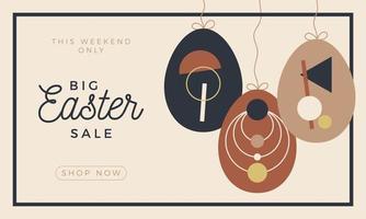 venda festiva cartão de Páscoa com padrão de decoração de ovos sobre fundo claro. vetor cartão boho