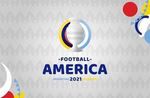 ilustração em vetor futebol América do Sul 2021 argentina colômbia. nenhum logotipo oficial do torneio no fundo padrão